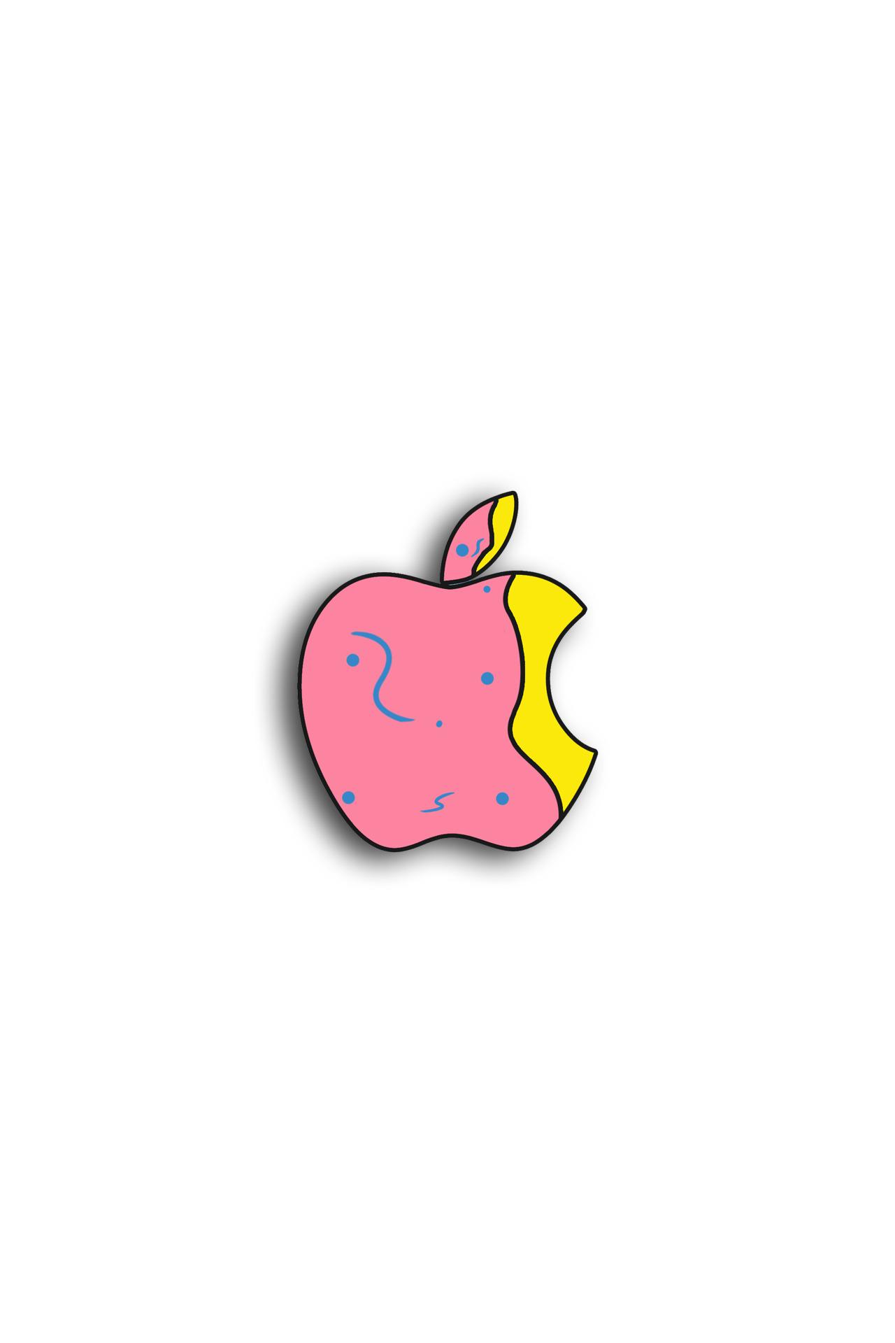 ピンクと黄色のイラスト、アップルロゴ