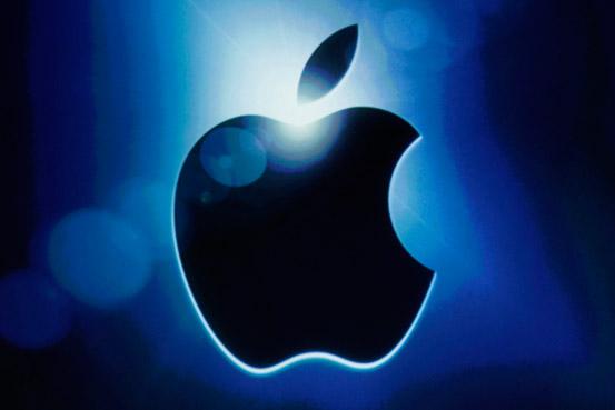 バックライトに照らされるアップルロゴ