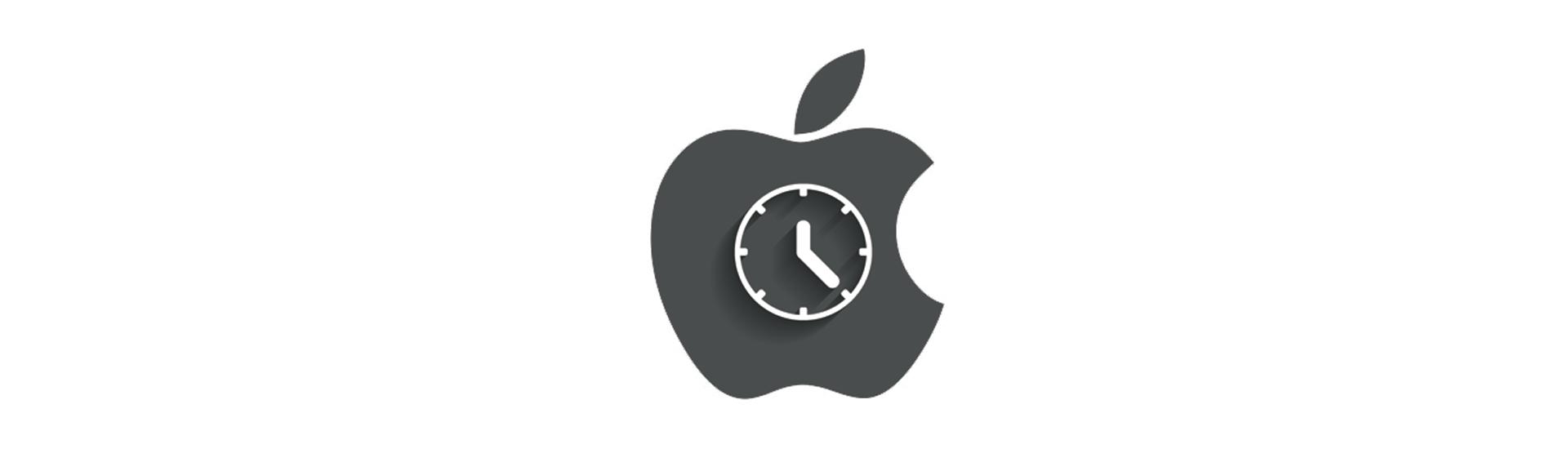 中に時計の針、アップルロゴ