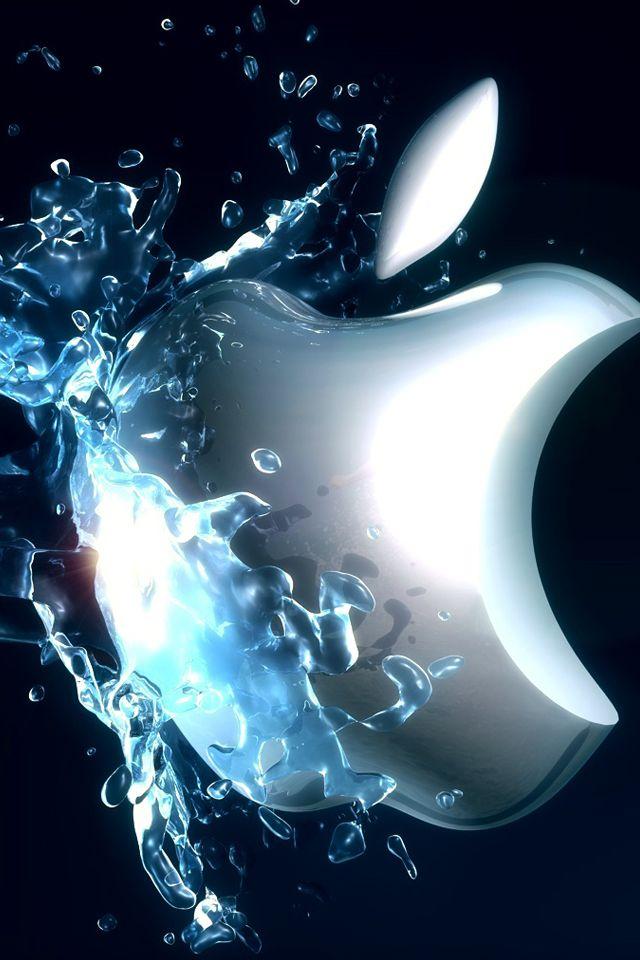 水を浴びたアップルロゴ