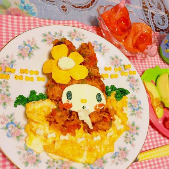 卵のチーズでマイメロディオムライス