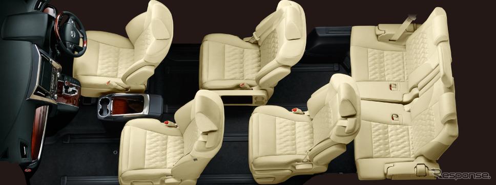 アルファードの内装。世界初の機構として採用された、ロングスライドレールにより、最大1,160mmの助手席スーパーロングスライドが可能です。シートサイドのスライドレバーを引くことで、助手席を後方に移動させるなど多彩なシートアレンジが楽しめます。