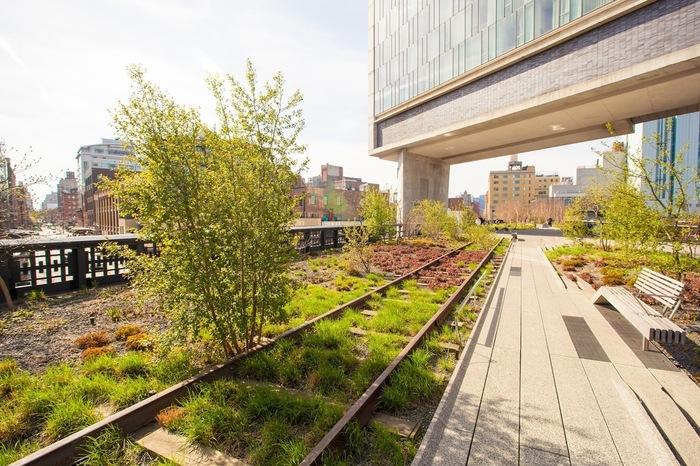 ハイラインはニューヨークのダウンタウンのハドソン川沿いにある長さ1マイルほどの空中庭園です。かつて貨物鉄道の高架橋であったところが、リノベーションを経てモダンな散策路「ハイライン」として生まれ変わりました。