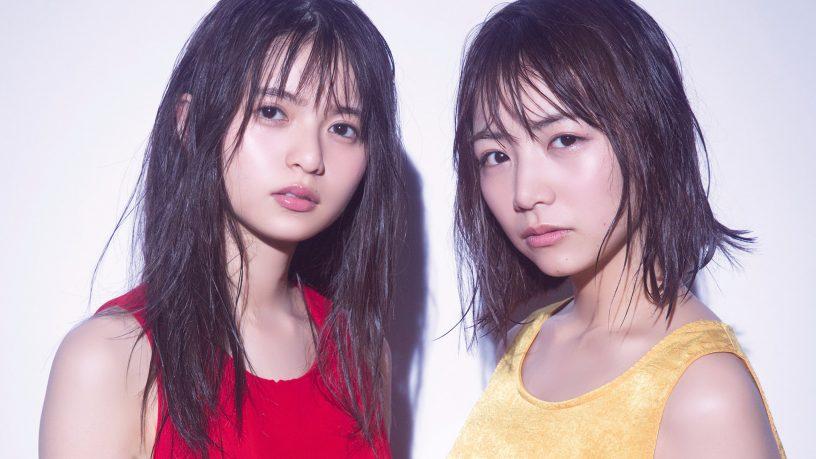 共に乃木坂46の「次世代エース」と期待の高い北野日奈子さんと赤いトップスの齋藤飛鳥さん。濡れ髪が少女の色気を出しています。