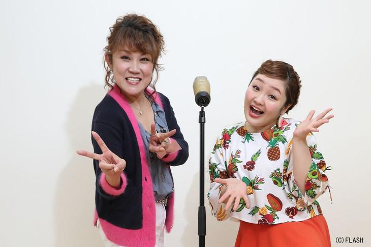 山田邦子さんとポーズの柳原可奈子さん。ぱっぷん前髪がトレードマークでしたが最近はオデコを見せたスタイルも披露してくれます。