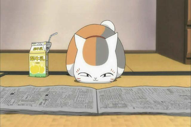 夏目友人帳のにゃんこ先生。真剣な表情で新聞を読んでいます。