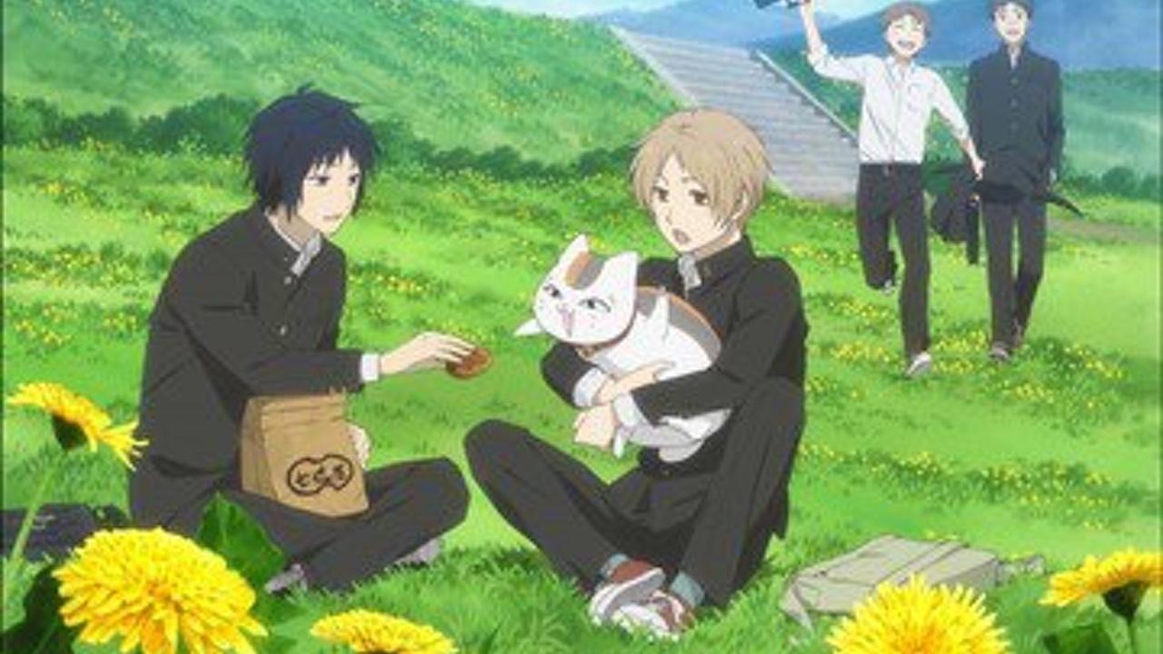 夏目友人帳の夏目とにゃんこ先生と田沼要。お菓子を欲しがるにゃんこ先生がキュートですね。