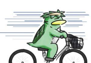自転車に乗るカッパ