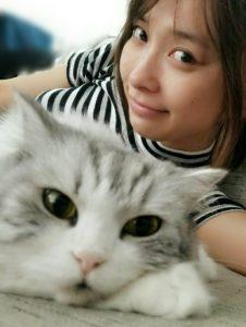 猫とくつろぐ山崎真実